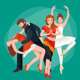 Group of dancing people, yong happy man and woman dance together and in a couple Stock Image