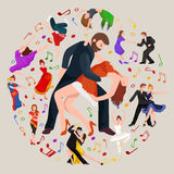 Group of dancing people, yong happy man and woman dance together and in a couple, girl sport dancer Stock Photos