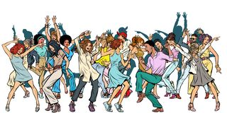 Group of dancing youth, isolate on a white background stock illustration