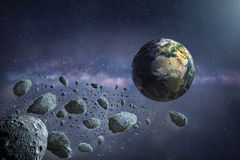 Group of dangerous asteroids flying to planet Earth royalty free illustration