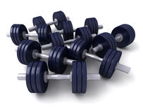 A group of dark blue dumbbells Stock Photos