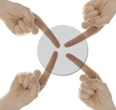 Group decision. Small group of hands choosing the same button isolated on white background Stock Image