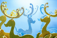 Group of decorated foam reindeers Stock Photo