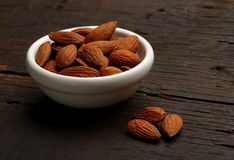 Group of delicious almonds in a bowl Stock Photos