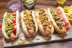Group of Delicious Gourmet Grilled Hot Dogs. Wide Assortment of Delicious Gourmet Grilled Hot Dogs With Mustard, Pickles, Onion, Tomatoes and Chips on a Cutting royalty free stock photos