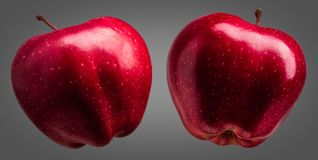 Group of delicious red apples on grey background Stock Image