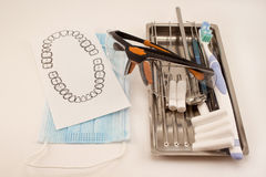 Group of dental tools and accessories for the treatment and care of teeth. Isolated on white background stock photos