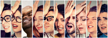 Group of desperate regretful people having duh moment stock photos