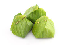 Group of dessert banana leaf package Royalty Free Stock Photos