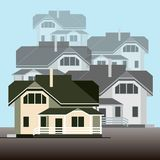 A group of detached houses on a light blue background. Detailed vector illustration. Flat style. Facades of a cottage group on a light blue background. Flat Stock Photos
