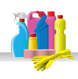 Group of detergents and cleaners Stock Photo