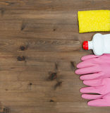 Group of detergents on wooden table Stock Image