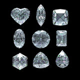 Group of diamond  cut  with clipping path Royalty Free Stock Photos
