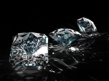 Group of diamonds on black background. Beautiful sparkling shining round shape emerald image with reflective surface. 3D Stock Photo