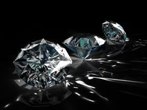 Group of diamonds on black background. Beautiful sparkling shining round shape emerald image with reflective surface. 3D Royalty Free Stock Image