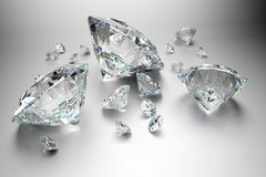 Group of diamonds on grey background stock image