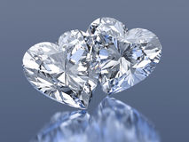 Group of 2 diamonds hearts stone Royalty Free Stock Photography