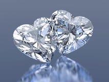 Group of 2 diamonds hearts stone. Group of 2 shiny diamonds hearts stone royalty free illustration