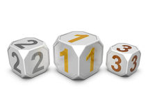 Group of dices with numbers. On white background Royalty Free Stock Image