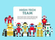 Group of different abstract robots standing together on blue background in flat style. High-tech team concept. Flat Royalty Free Stock Photo