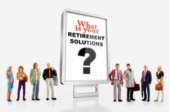 A group of different age people are standing in front of a billboard with a question message about retirement solutions. Miniature peoples retirement concept, a royalty free stock photography