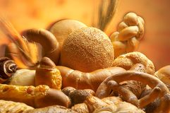Group of different bread products Stock Photography
