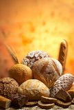Group of different bread products. Photographed with light brush Royalty Free Stock Image