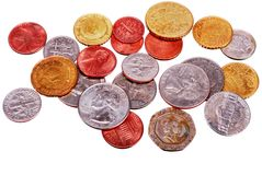 Group of different coins. Small group of different coins on a white background Royalty Free Stock Image