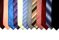 Group of different coloured ties Stock Images