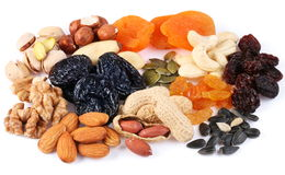 Group of different dried fruits and nuts. Stock Photos