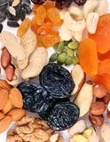 Group of different dried fruits and nuts Royalty Free Stock Images