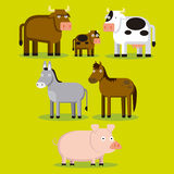 Group Of Different Farm Animals With Color Royalty Free Stock Images