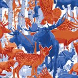Group of different forest animals with birch trees and bushes. Vector repeated seamless pattern drawn with rough brush in contrast colors vector illustration