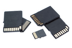 Group of different memory card storage. Stock Image