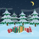 A group of New Year`s presents with ribbons on a snowy winter night and on Christmas trees background. Vector. A group of different New Year`s presents with Stock Photo