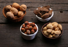 Group of different nuts and almonds Royalty Free Stock Photo