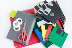 Group of different office and school stationery. stock image
