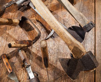 Group of different old tools for woodworking Royalty Free Stock Photos