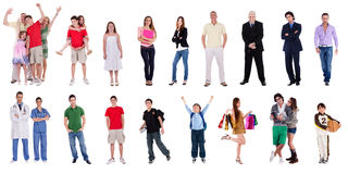 Group of different people. Group of many different people on isolated white background Stock Images