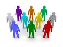 Group of different people. Concept 3D illustration Stock Photos