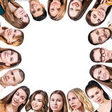 Group of different people form a frame Royalty Free Stock Image