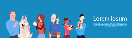 Group Of Different People Holding Cute Dogs Owners With Pets. Flat Vector Illustration Stock Images