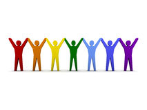 Group of different people success. Concept 3D illustration Royalty Free Stock Images