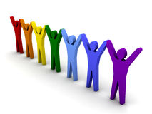 Group of different people success. Concept 3D illustration Stock Photo