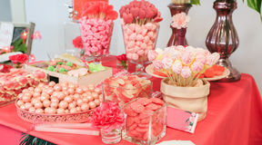 Group of different pink candies stock photography