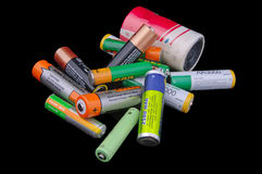 Group of different size batteries Stock Images