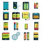 Group of different size color batteries electricity charge technology vector icons Royalty Free Stock Image