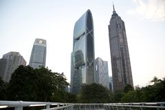 Group different style buildings in Guangzhou sunset Stock Images