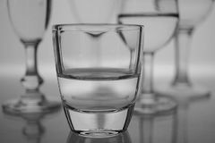 Different Type of Glasses. A group of different type of glasses in black and white royalty free stock photos
