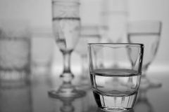 Different Type of Glasses. A group of different type of glasses in black and white royalty free stock photography